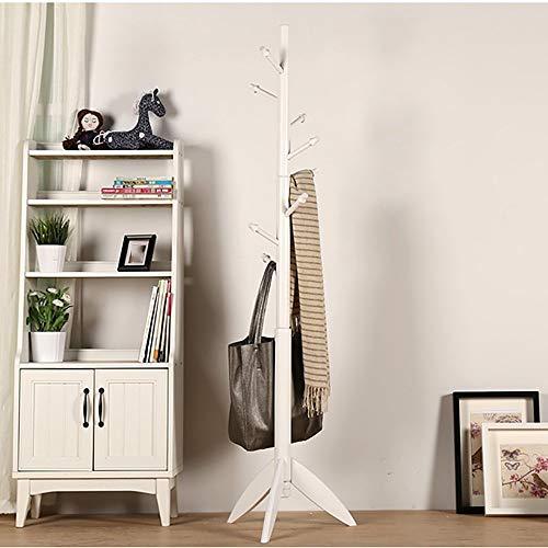 POETRY massief houten kapstok slaapkamer moderne hanger ruwe Europese kleding plank grootte: 175 * 48 cm kledingrek vrijstaande (kleur: wit)