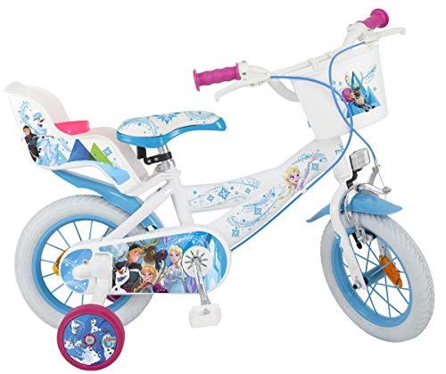 Disney Kinderfahrrad Frozen 12 Zoll Mädchen - Fahrrad mit Puppensitz, Korb, abnehmbaren Stützrädern
