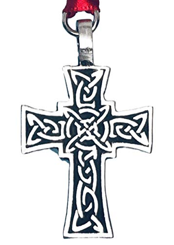 Pewter Celtic Knot Cross Irish Christmas Ornament and Holiday Decoration