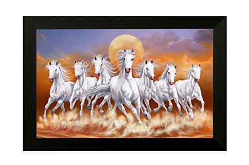 SAF 6802 7 Lucky Running Horses Framed Synthetic Wall Art Paintings (Wood, 35cm x 2Cm x 50Cm Framed Painting) SANFH6802