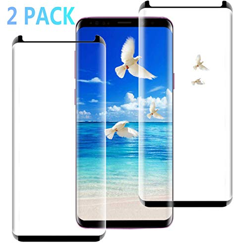 (2 Pack) Galaxy S9 Screen Protector, [3D Curved Glass][Case Friendly][Bubble Free] Ultra Thin HD Clear 9H Hardness Anti-Scratch Clear Screen Protector Compatible with Samsung Galaxy S9 (Transparent)