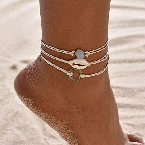 Ushiny Lot de 3 bracelets de cheville Boho avec coquillages - Pour femme et fille