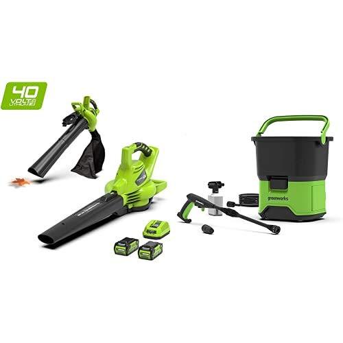 Greenworks Tools 24227UC 40 V Laubgebläse und Sauger inklusive 2 Akkus 2Ah und Ladegerät, grün, Laubbläser+ Akku-Hochdruckreiniger GDC40 (Tank 6 m Schlauch ohne Akku und Ladegerät)