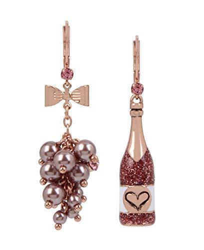 Betsey Johnson (GBG) Rose Mismatch Drop Earrings, PINK (245198RG680)