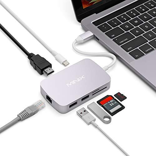 MINIX NEO-C-X USB-C Multiport Adapter, Beschichtung aus mattem Aluminium, Grau