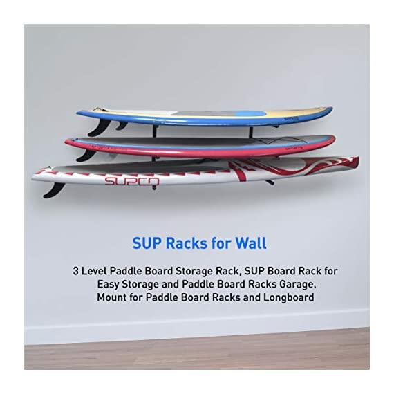 """Easygoproducts egp-surf-006 sup and surf 3 level wall storage for garage or room-paddle board and longboard racks 5 🏄 heavy duty: our sup wall rack was designed using all steel to withstand the weight of heavy paddleboards and long boards creating a more sturdy and durable paddle board storage rack. 🏄 overall protection: each of the 6 arms included of our sup board rack comes equipped with extra thick padding to protect and prevent harm done to your board unlike most paddle board racks. Our steel material is also durable and rust resistant to withstand a salt water environment. 🏄 perfect for many types of boards: unlike a lot of sup racks for wall storage, this paddle board holder can hold up to a 33'' wide board and can hold surfboards, paddleboard, longboards, skis, and some kayaks with a 12"""" spacing in between each arm level."""