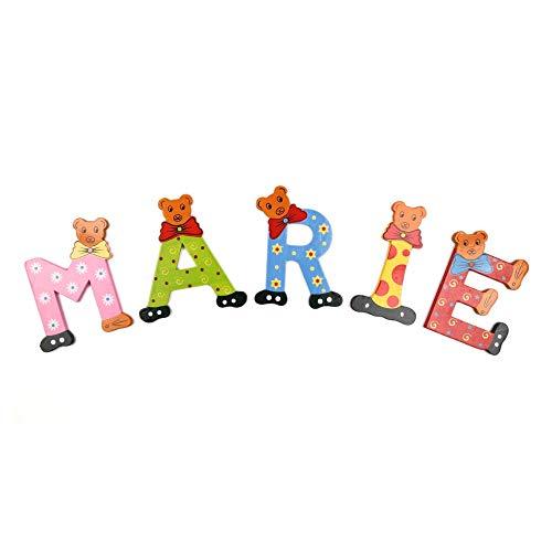 Brink Holzspielzeug Buchstaben Holz Tür Bären ABC bunt Holzbuchstaben Türschild Bunte Kinderzimmer (A)