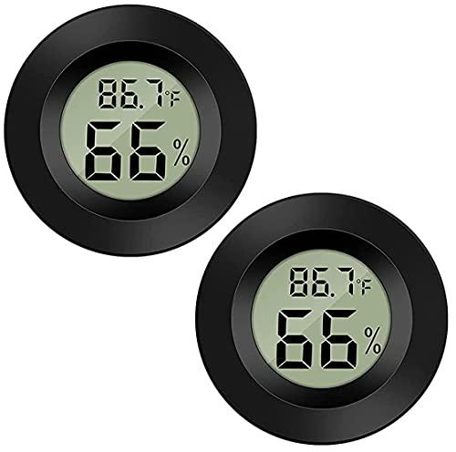 Meggsi 2 Pack Mini Digital Hygrometer Gauge Indoor Thermometer, LCD Monitor Temperature Outdoor Humidity Meter for Humidors Greenhouse Cigar Jars Incubators Guitar Case, Fahrenheit (℉) or Celsius(℃)