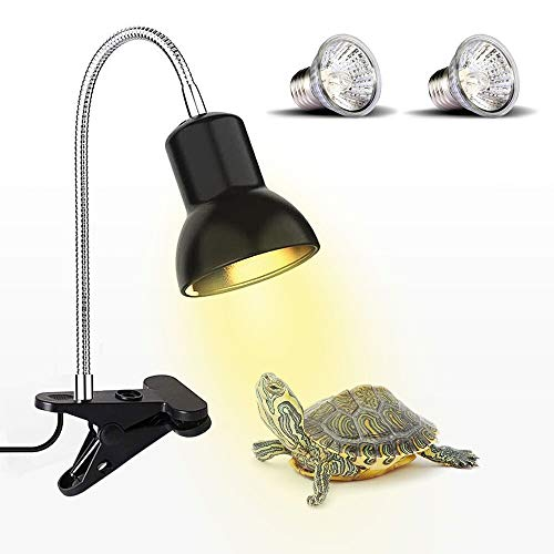 ECOSI Tortoise Heat Lamp, Heat Spotlight For Aquarium Reptile, Basking Spot With Holder UVA UVB With 360 ° Rotating Clip & Power Supply For Reptiles, Lizards, Turtle Snakes Aquarium 25W