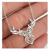 BULINGBL Necklace Collana Collane Animali Origami in Acciaio Inossidabile per Donna. Simpatici Teschi di Cervi Conigli. Charms. Regali per Gioielli