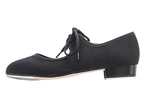 Katz Dancewear Girls Ladies Black Canvas Low Heel Tap Dance Shoes with Tap Plates (Adults UK 6)