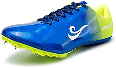 BETOOSEN Men's Women's ORRZER Track and Field Shoes Spikes Running Training Sneakers Lightweight Jumping Athletics Track Shoes for Boys and Girls (9 M US Women/8 M US Men, Blue)
