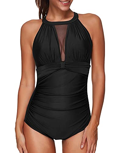 Tempt Me Women One Piece Swimsuit Black High Neck V-Neck Mesh Ruched Monokini L