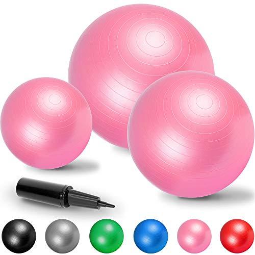 GORILLA SPORTS Gymnastikball Fitness Sitzball | Verschiedene Größen und Farben | l 55-75 cm Farbe Pink, Größe 65 cm