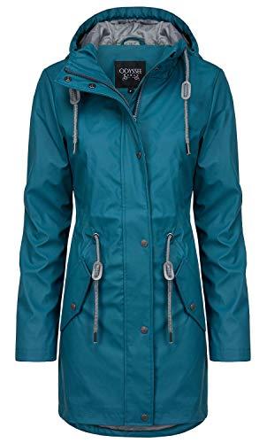 ODYSSEE Damen Regen Mantel Parka Jacke mit Kapuze, Farbe:Petrol, Größe:XL