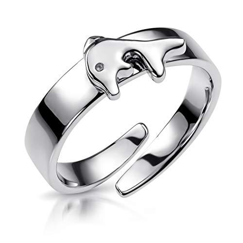 MATERIA Kinder Ring Delphin 13-16mm verstellbar - Mädchen Schmuck 925 Silber Tiere in Geschenk-Box SR-159-D