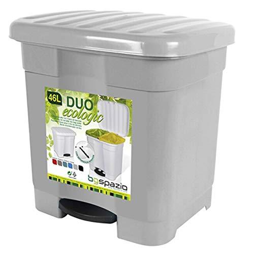 Cubo de Basura Pedal 2 compartimiento 46 litro Plástico 45 x 41 x 47 cm ,Contenedor de basura 2 Divisiones Interiores multicolores (Gris)