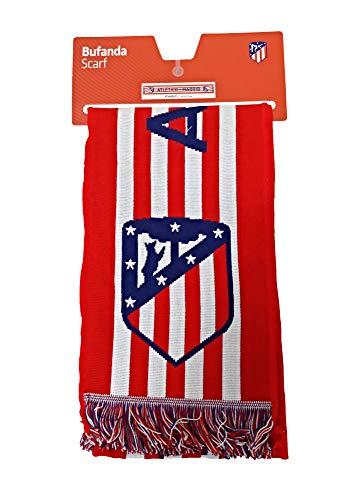 Bufanda Telar Atlético de Madrid Rayas Horizontal - Nuevo Escudo - Rojo...