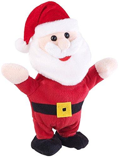 Playtastic Laufender Weihnachtsmann: Sprechender Weihnachtsmann mit Mikrofon, spricht nach und läuft, 22 cm (Sprechender Nikolaus)
