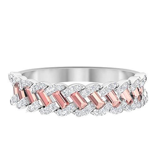Anillo trenzado antiguo, anillo de boda nupcial, anillo creado por laboratorio de morganita de 0,55 CT, anillo de diamantes HI-SI de 0,31 CT, 14K Oro blanco, Size:EU 60