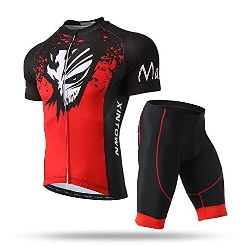 Jersey de Ciclismo para Hombre Camiseta de Ciclismo de Hombre MTB de Manga Corta MTB Ropa de Bicicleta por Carretera Pantalones Cortos de Bicicleta Acolchados Moisture Wicking Cycling Jersey (Rojo r