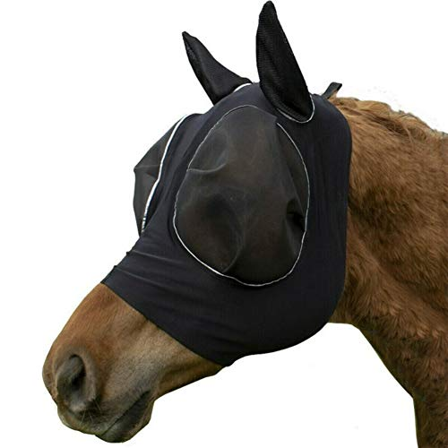 Hobein Pferdefliegenmaske, Fliegenmaske mit Ohren, Extra Comfort Horse Fly Mask Grip Soft Mesh Pferde Fliegenmaske mit Ohren (Schwarz)
