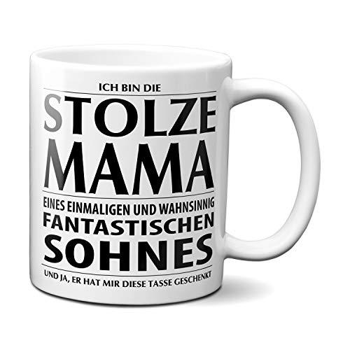 Tasse mit Spruch STOLZE MAMA Kaffeetasse Kaffeebecher Kaffeepott Frühstückstasse Bürotasse Weihnachten Sohn Geschenk