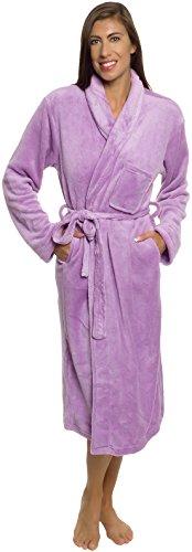 Womens Bathrobe Plush Wrap Kimono Loungewear Gown by Silver Lilly (Lavender, S/M)