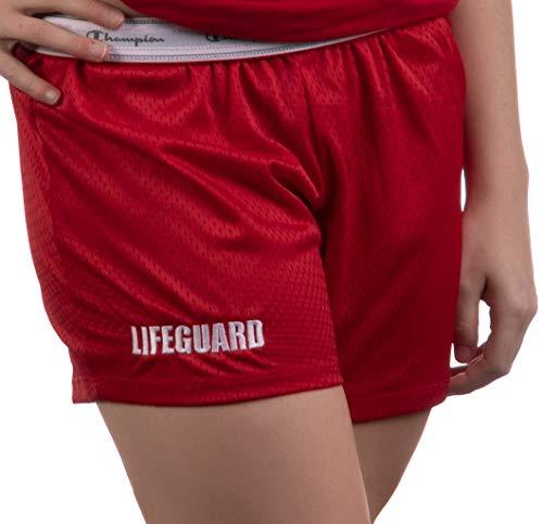 Lifeguard Mesh Gym Shorts | Red Professional Women's Lifeguarding Swim Bottoms-(Champ,S)