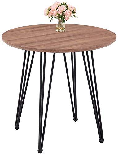 GOLDFAN Redondo Mesa de Comedor para 4 Moderno Mesa de Cocina con Patas de 3 Varillas para Casa y Oficina, Ø 80 x 75 cm (Efecto Madera)