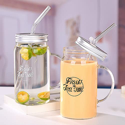 ACEWD Taza de Cristal con Paja y la Tapa de la Taza, Taza de café Reutilizable ecológica Taza de Cerveza Taza de Leche Taza para Beber frío o Caliente Juego de 2 (Mezcla),A
