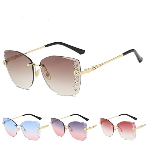 N-B Cat-Eye Frameless Sunglasses, Cut-Edge Sunglasses, Carved S-Shaped Pattern, Diamond-Studded Sunglasses, UV Protection