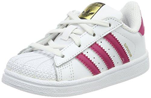 adidas Superstar I, Chaussures de Gymnastique Mixte Enfant, Blanc Cassé (FTWR White/Bold Pink/FTWR White), 25 EU