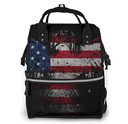 Diaper Bag Backpack Travel Bag Large Multifunction Waterproof American USA Flag 4 Stylish and Durable Nappy Bag for Baby Care School Backpack