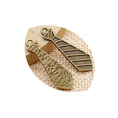 honggui1111-40 colgantes de 30 x 9 mm para hombre, corbata de pajarita, colgantes para hacer joyas (bronce antiguo)