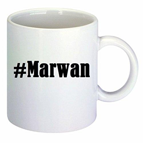 taza para café #Marwan Hashtag Raute Cerámica Altura 9.5 cm diámetro de 8 cm de Blanco