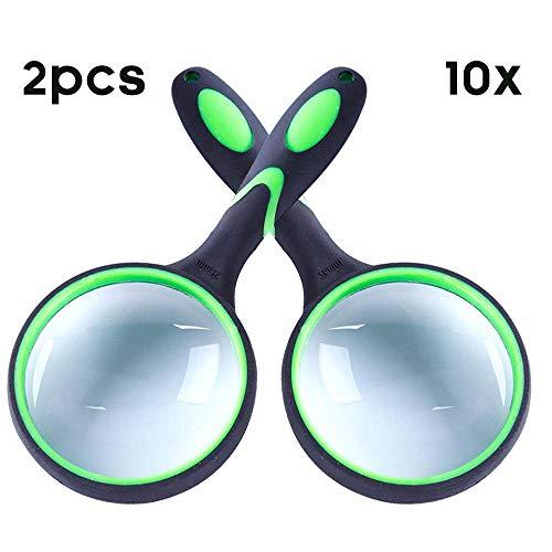 Onbreekbaar Vergrootglas 10X Handheld Leesvergrootglas, 75mm Anti-cratch Kwaliteits Glazen Lens, Verdikt Rubberen Frame, Perfect voor senioren & Kinderen-Groen