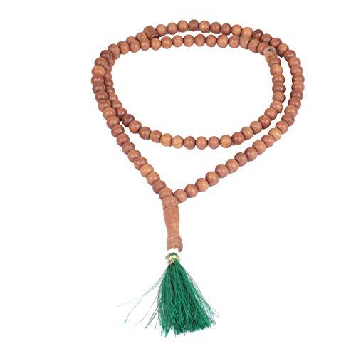 Jingle Jewels Auténtica guirnalda de sándalo (Mala)| Oración de Meditación Musulmana de Madera Imaam
