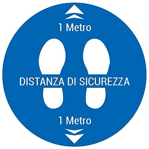 Cartello segnaletica adesiva covid 19 per rispetto distanza di sicurezza regole di comportamento 30x30 cm 2 PEZZI (Distanza di sicurezza 2)