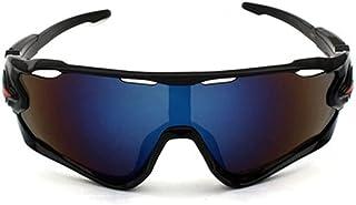 QWKLNRA - Gafas De Sol para Hombre Lente Azul Marco Negro Gafas De Sol Ciclismo Montaña Gafas De Sol Deportivas Polarizadas Bicicletas Gafas De Sol Deportivas para Hombre Gafas De Sol contra La Monta