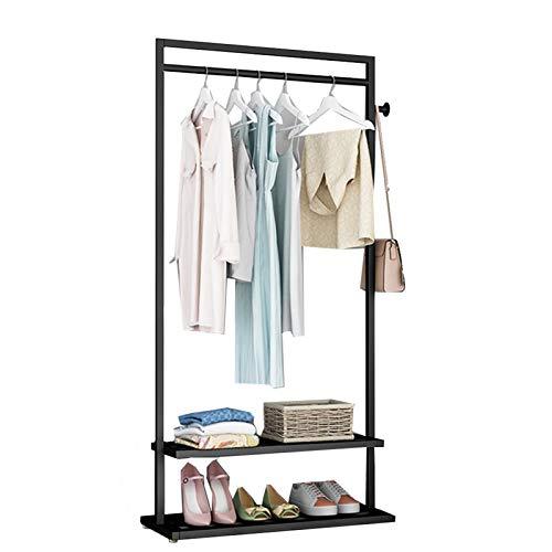 YAN FEI Perchero de pie 3 en 1 con diseño vintage de pie, multifuncional, para ropa, estante de almacenamiento, para pasillo y entrada, resistente, color negro, tamaño: 60 cm