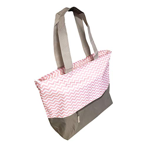 XL Beach Tote Chevron Print Weekender Bag with Mesh Webbed Handles and Outer Zippered PocketCan Be Personalized (Blank, Pastel Pink)