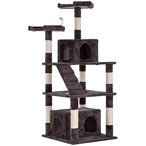 Best Home Product 64 Inches Multi-Level Cat Tree Cat Condo with Scratching Posts Kittens Activity Tower Pet Play House Furniture Gray