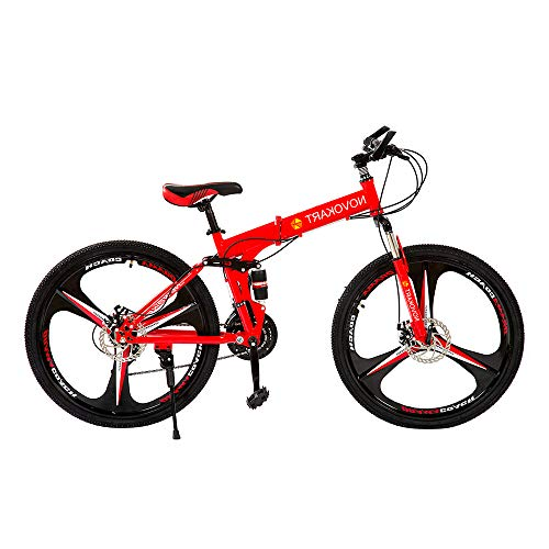 DOMDIL Folding Mountain Bike 26in 21 Speed 3-Spoke Adults Bicycle (Ship from US) Full Suspension Road Bikes with Disc Brakes for Adult Teens MTB Bikes,Red