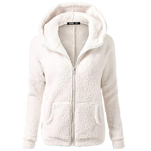 ZODOF Woolrich Abrigo Mujer Encapuchado Suéter Saco Invierno Calentar Abrigo de Lana con Cremallera Algodón Saco Desgastar Coat Outwear Hooded