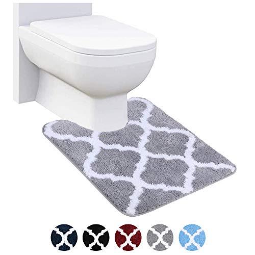 Homaxy rutschfeste WC-Vorleger Waschbar WC Teppich Klovorleger mit Ausschnitt Weiche Hochflor Toiletten Vorleger- 50 x 60, Grau