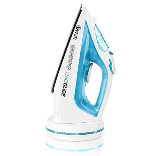 Swan 2-in-1 Cord or Cordless Steam Press Iron, Rechargeable, Non-Stick Ceramic Soleplate, Steam Boost, Self-Cleaning, SI16410N, 2800 W, Blue
