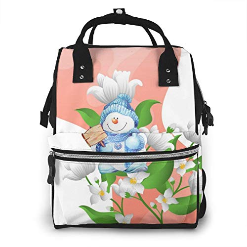 GXGZ Fleur de jasmin avec sac à dos à couches imperméable dégradé, compartiment avec deux poches et huit rangements, sacs d'allaitement élégants et durables pour les parents