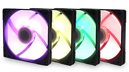 サイズオリジナル設計高密度密閉型FDB採用 防振ラバー搭載 120mmケースファン KAZE FLEX 120 SLIM RGB PWM ...