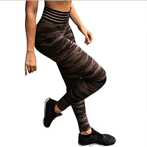 Ytdzsw Mujeres Push Up Fitness Legging Camuflaje Raya Culturismo Alta Cintura Leggings Sportswear Athleisure Mujeres Pant-S